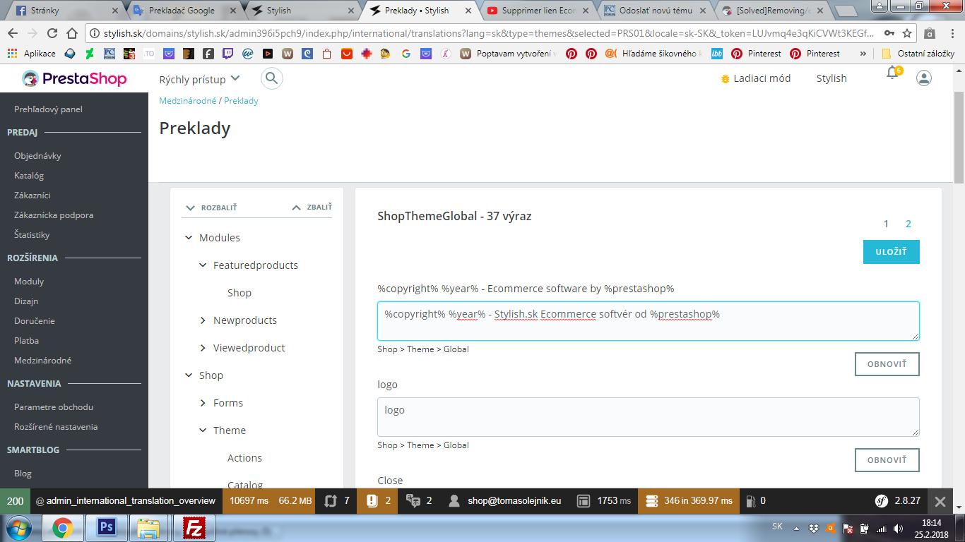 PrestaShop 1.7.x. zmazanie odkazu na autorské práva