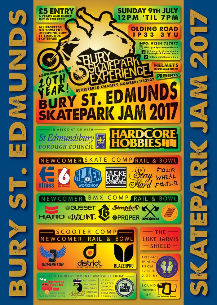 Bury St Edmunds Skatepark Jam 2017 Web Poster