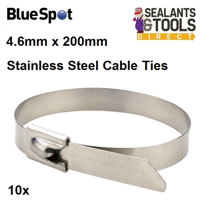 BlueSpot 4.6mm 200mm Stainless Steel Cable Ties 40064