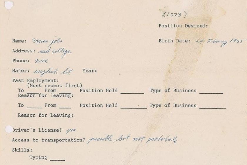 სტივ ჯობსის 1973 წლის რეზიუმე $174 757-ად გაიყიდა