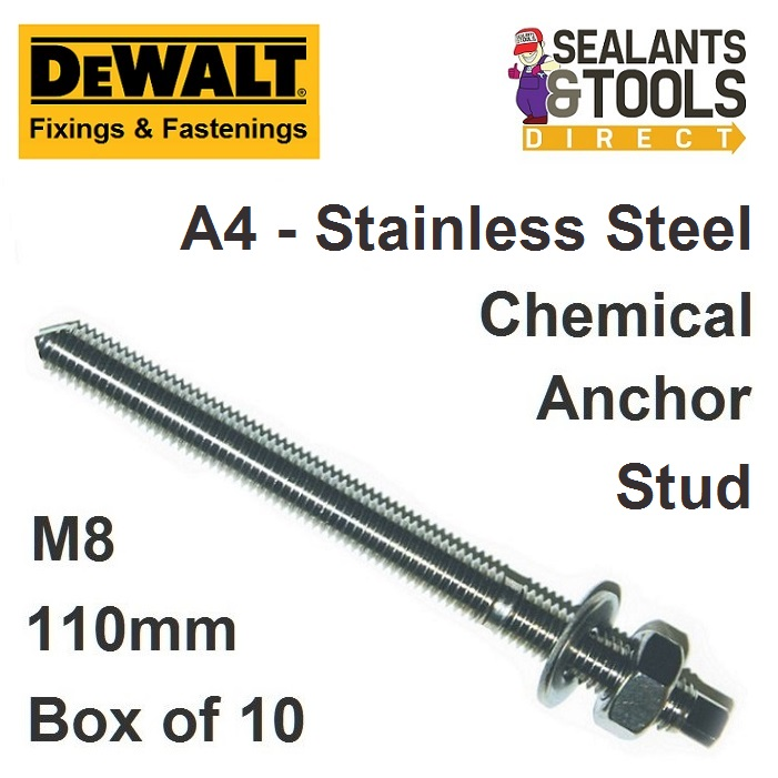 Dewalt M8 Stainless Steel Chemical Anchor Studs