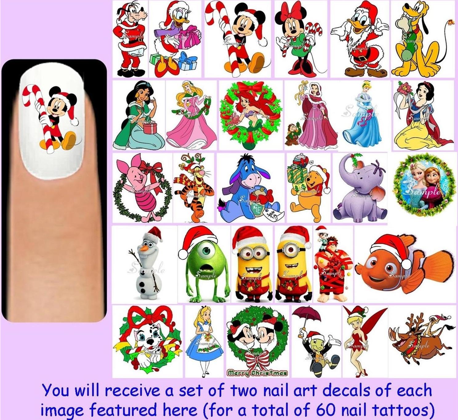 60x DISNEY CHRISTMAS Nail Art Decals Free Gems Mickey Minnie Mouse ...