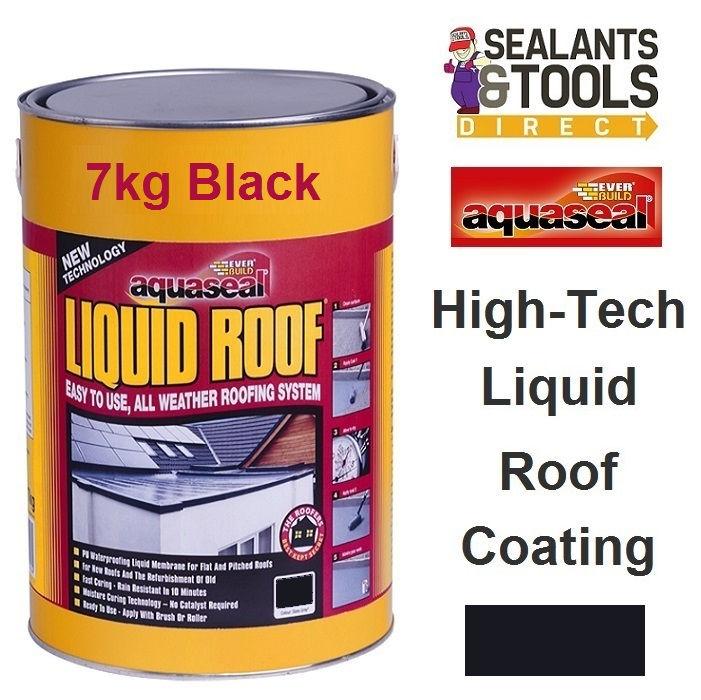 Everbuild Aquaseal Liquid Roof 7Kg Black AQLIQRFBK7