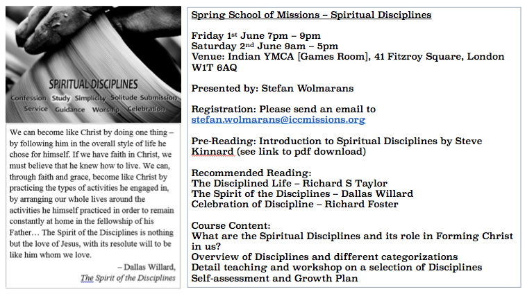 Spiritual Disciplines Announcement Slide