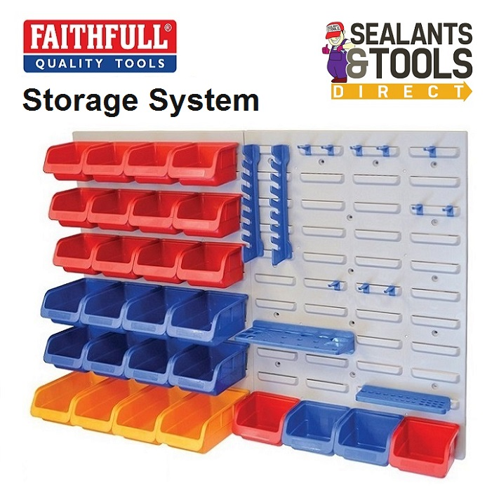 Faithfull Storage Bins Wall Mounted Tool Storage FAIPAN43