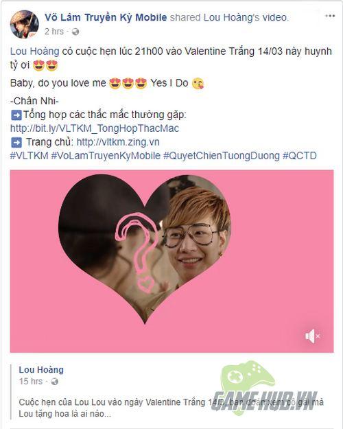 Cộng đồng Võ Lâm Truyền Kỳ Mobile sắp nhận quà Valentine Trắng từ Lou Hoàng? - ảnh 2