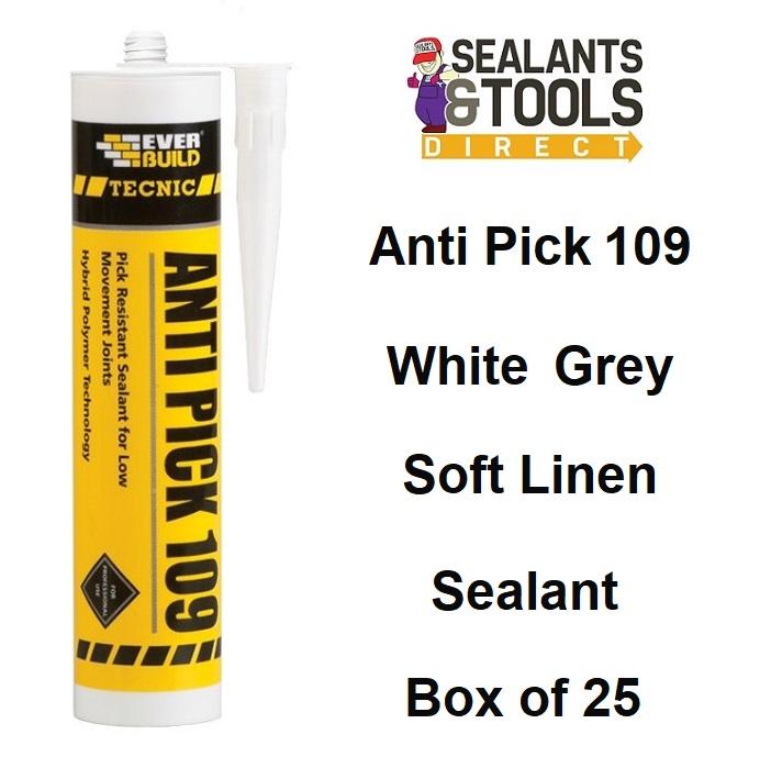 Everbuild Anti Pick 109 Sealant Box 25 Grey Soft Linen White