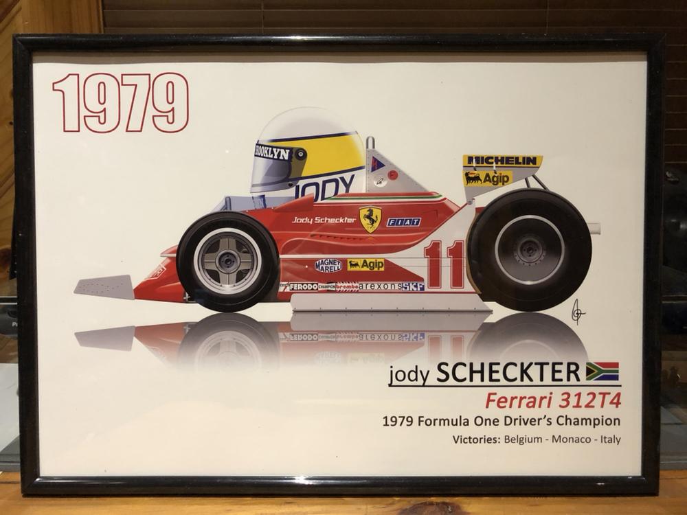 1979 jody scheckter ferrari race poster