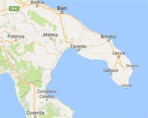 mapa de Apulia y provincia de Lecce