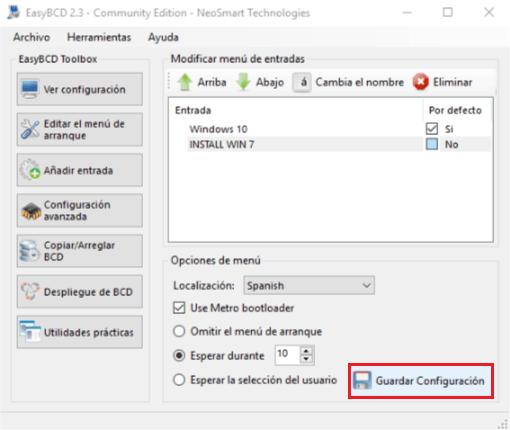 Instalar Windows sin USB ni CDs - Guardar cambios EasyBCD