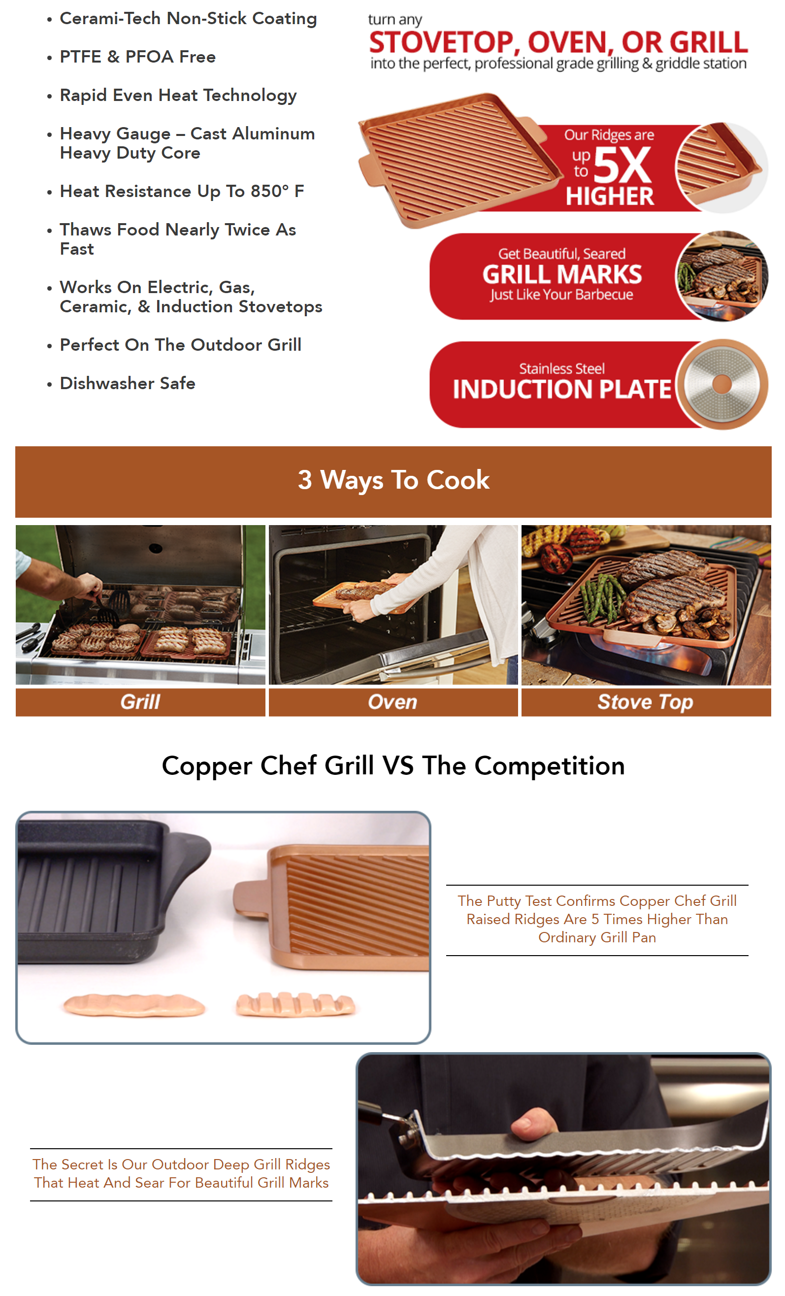 Set 12 Quot Copper Chef Grill Amp Griddle Non Stick Pan Nonstick