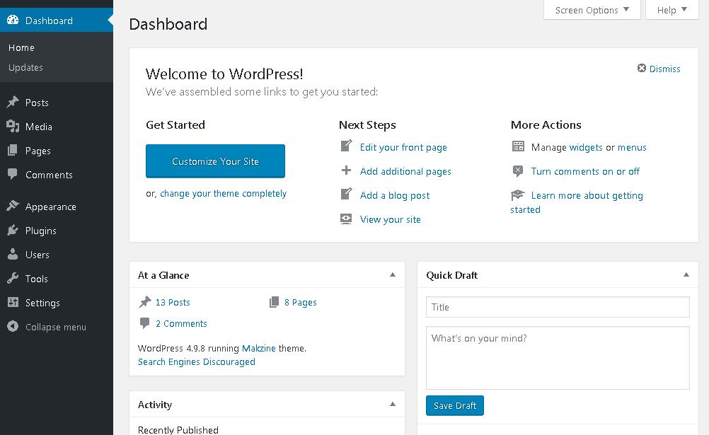How to Make a Website | WordPress Dashboard