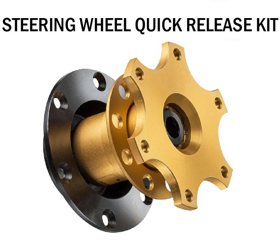 QUICK RELEASE SNAP OFF STEERING WHEEL BOSS HUB KIT ADAPTER  GOLD RACING TRACK