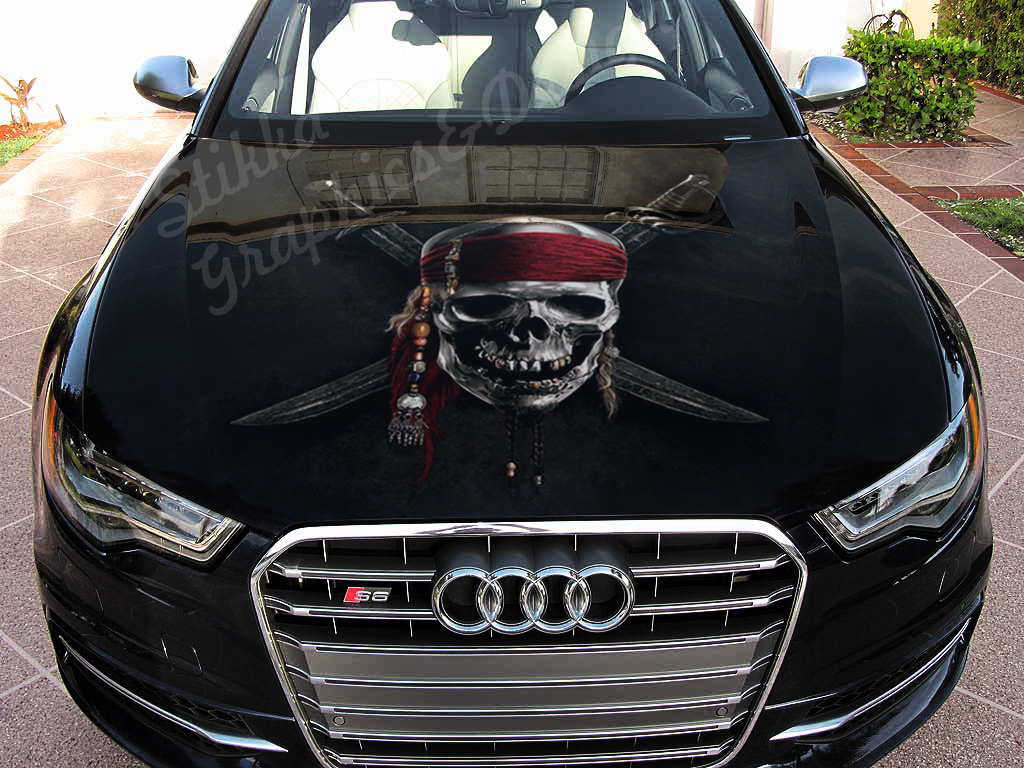 Details about vinyl car hood wrap full color graphics decal pirate skull sticker
