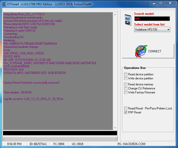 Hisense F17 Pro MT6739 FRP Reset Done by Select [VFD 720] 'FG Box