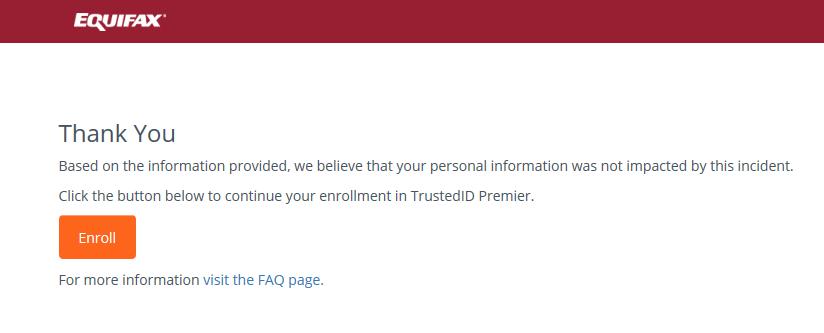 Equifax Fake Name Check 1 Response