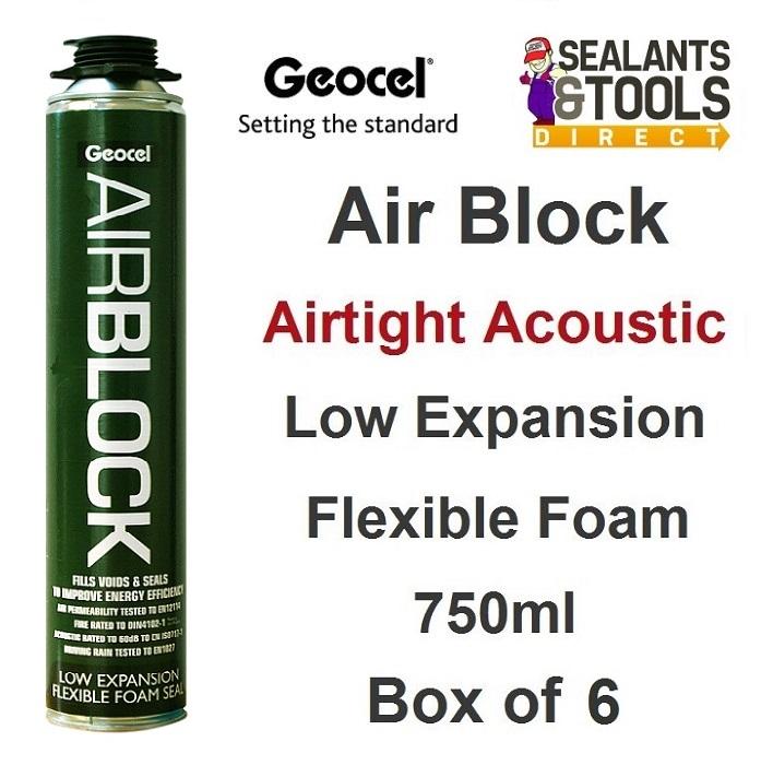 Geocel AirBlock Air Tight Acoustic Expanding Foam 750ml Box of 6