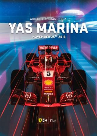 ABU DHABI 2018 FERRARI F1 GRAND PRIX RACE POSTER