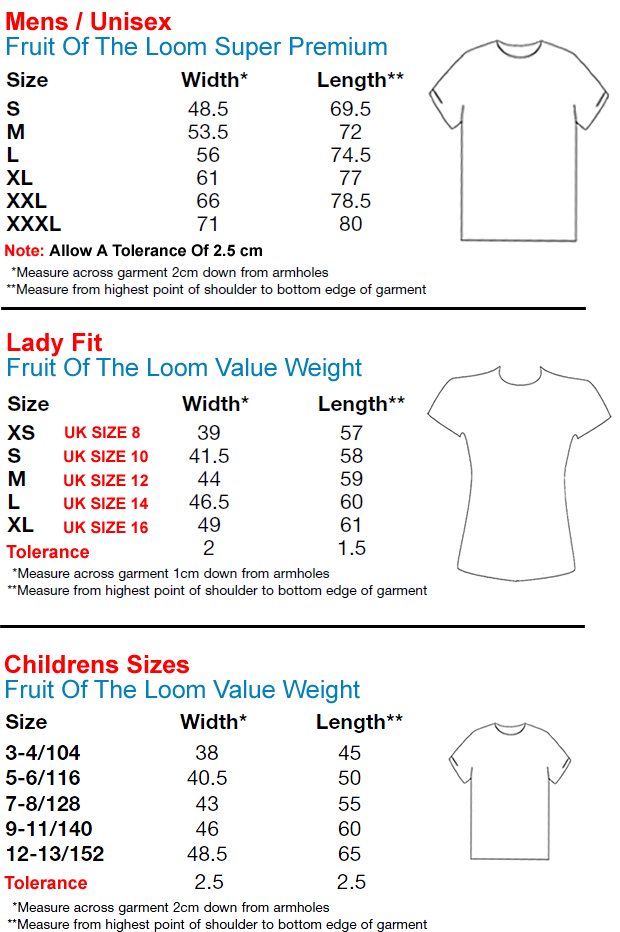 Fruit Of The Loom Childrens T Shirt Size Chart Fruit Of The Loom