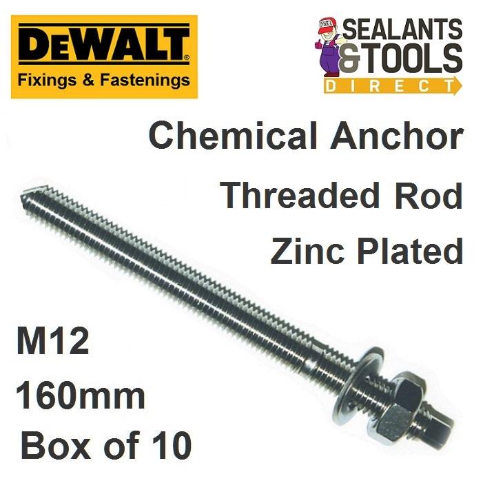 Dewalt M12 Chemical Anchor Stud Zinc Chisel point