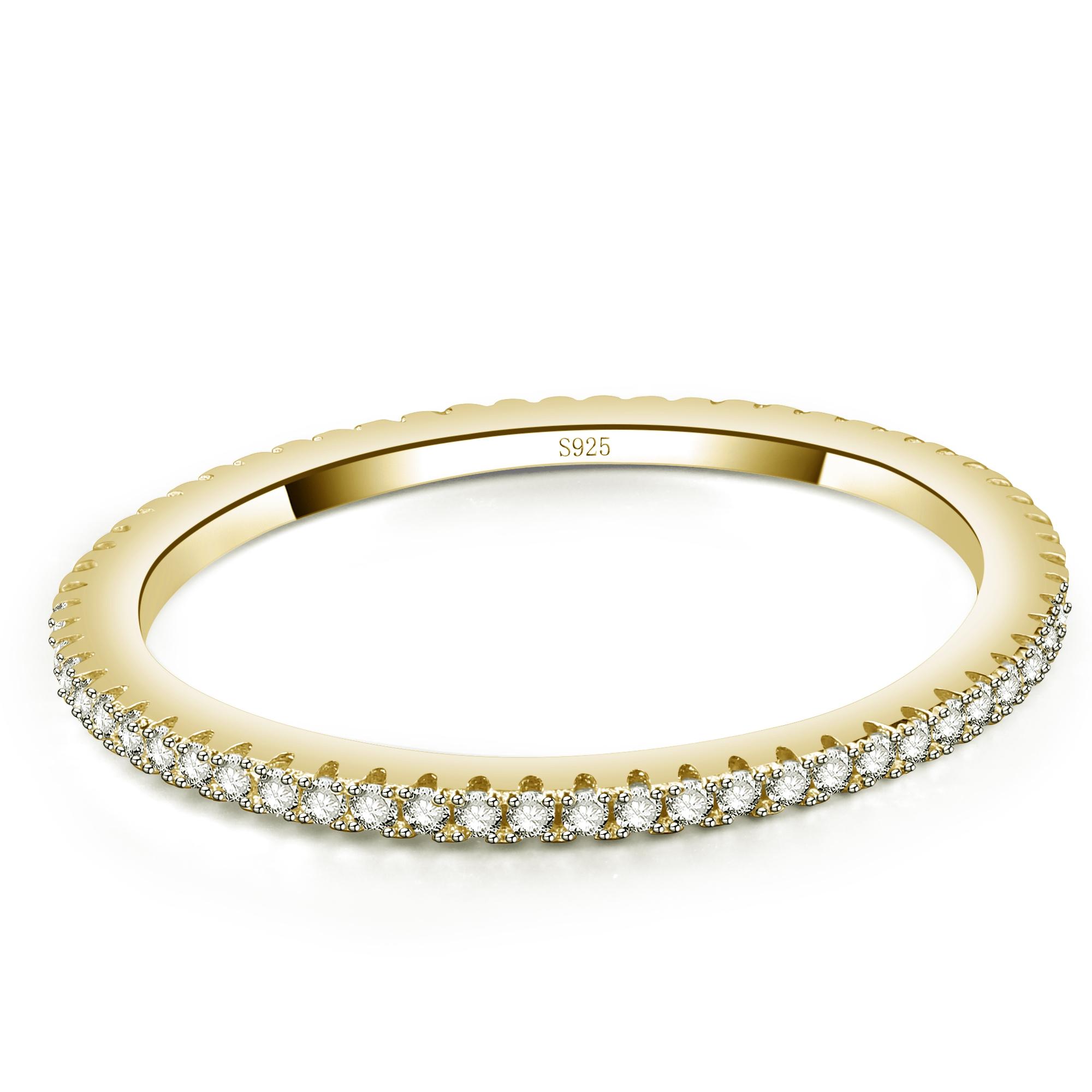 50 52 54 56 58 60 NEU Damen Ring 925er echt Silber Gold mattiert mit Stein Gr