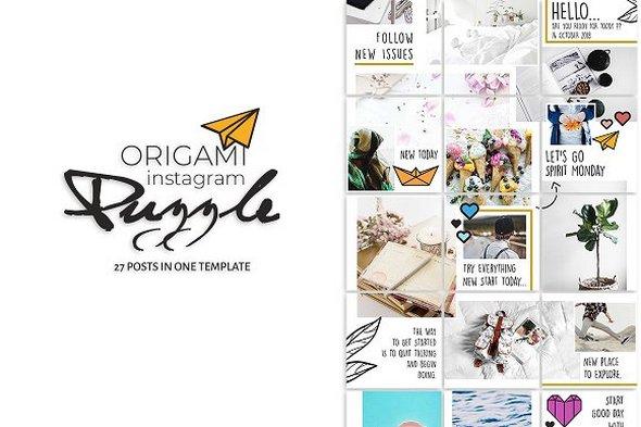 CreativeMarket - Origami Instagram Puzzle 2868714