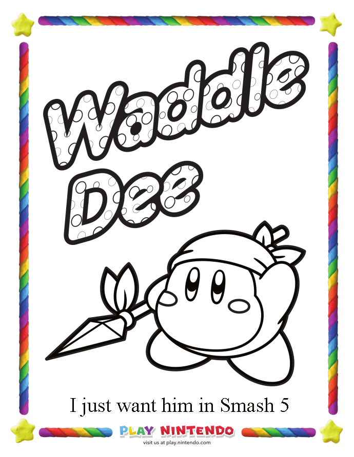 Nintendo Releases Special Coloring Pages For Kirby S 25th Coloring Pages Kirby