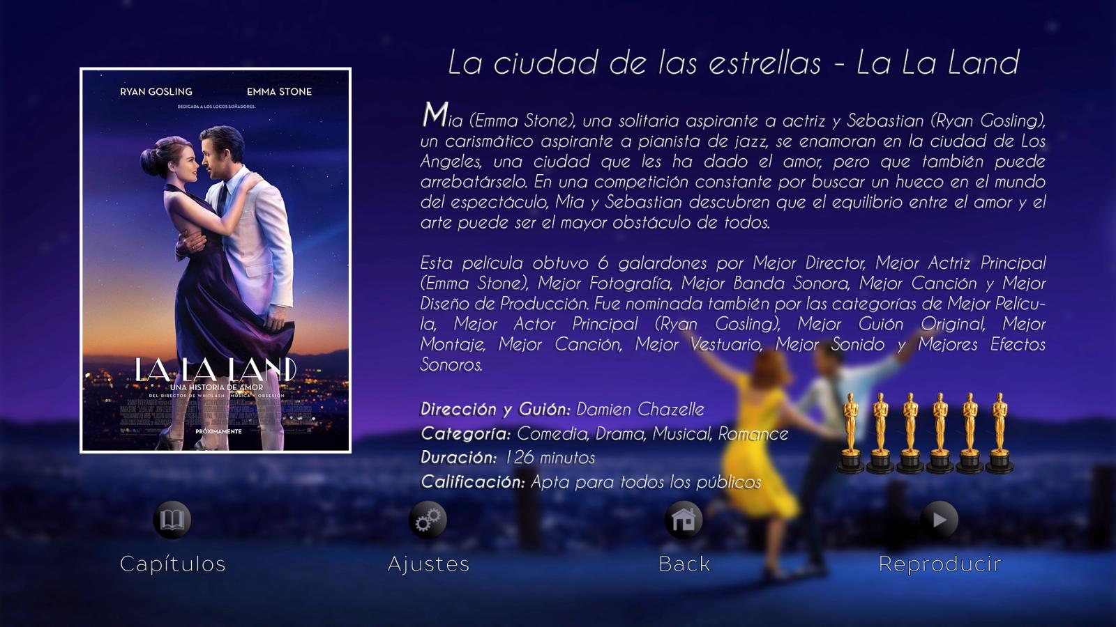 Menú de opciones La La Land - Disco 01 Colección The Oscars Nominateds 2017