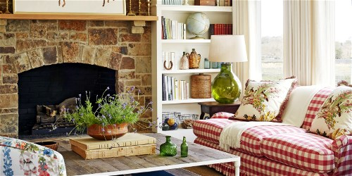 country_style_rustic_modern_farmhouse_living_room_with_red_checkered_sofa_and_stone_fireplace_Copy
