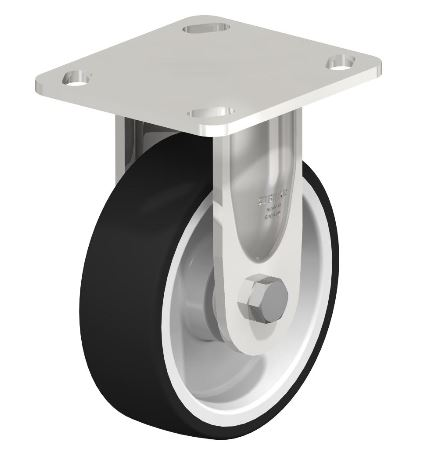 BYBKSX-POTH 125KD-14 Made of heavy pressed high-quality chromium-nickel stainless steel (Material No. 1.4301/AISI 304). All parts incl. axle material are corrosion-resistant. Bolted wheel axle. Vibration-ground finished. Made of high-quality thermoplastic