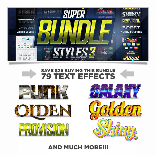 Super bundle of photoshop styles text effects 3