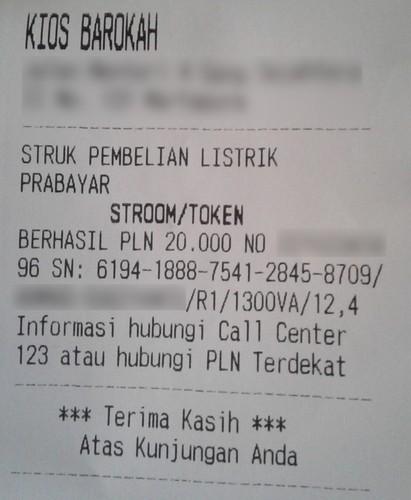 Struk Pembelian Token PLN
