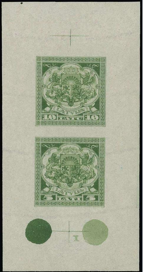 Izmēģinājuma iespiedums zaļā krāsā uz ūdenszīmju papīra. Pārdots izsolē par 2600 €.