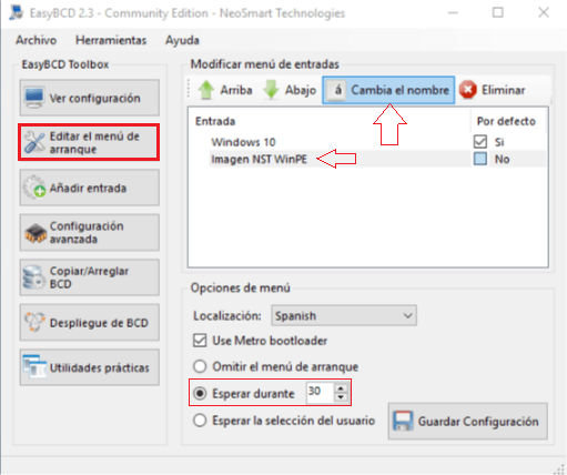 Instalar Windows sin USB ni CDs - Editar menú de arranque EasyBCD
