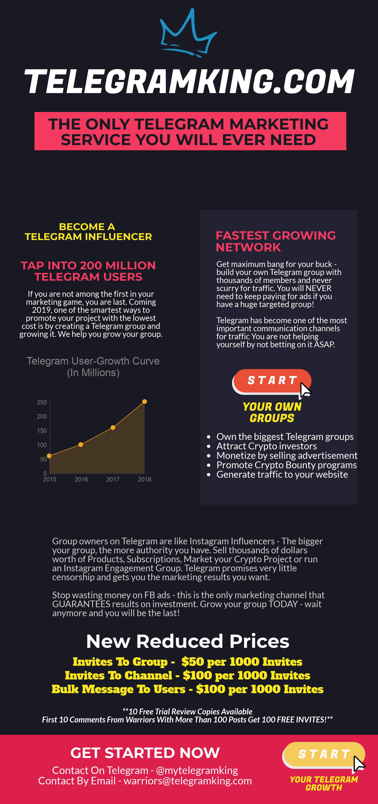 TELEGRAM KING Marketing Services - Build Your Own Telegram Groups