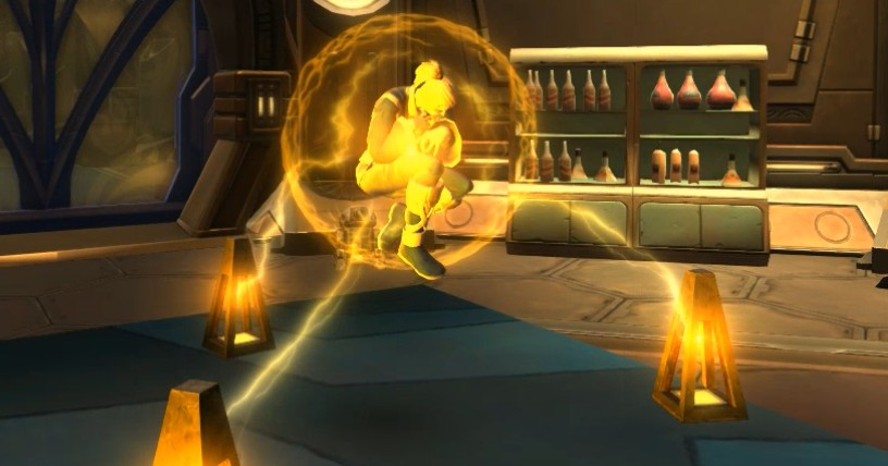 Screenshot of Viridana Dragoi, a tall blonde woman, curled into a ball inside her Rakata stasis bubble, made of yellow electricity.