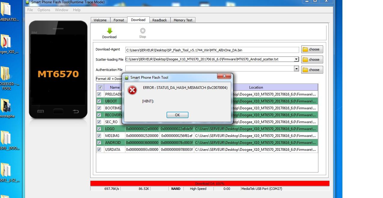 مشكلة توقف doogee x10 بعد التفليش ب flash_tool ؟
