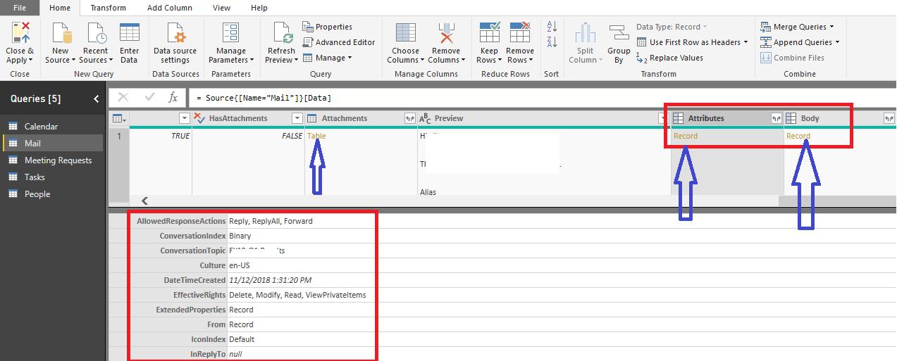 Importing Outlook - User Defined fields - Microsoft Power BI