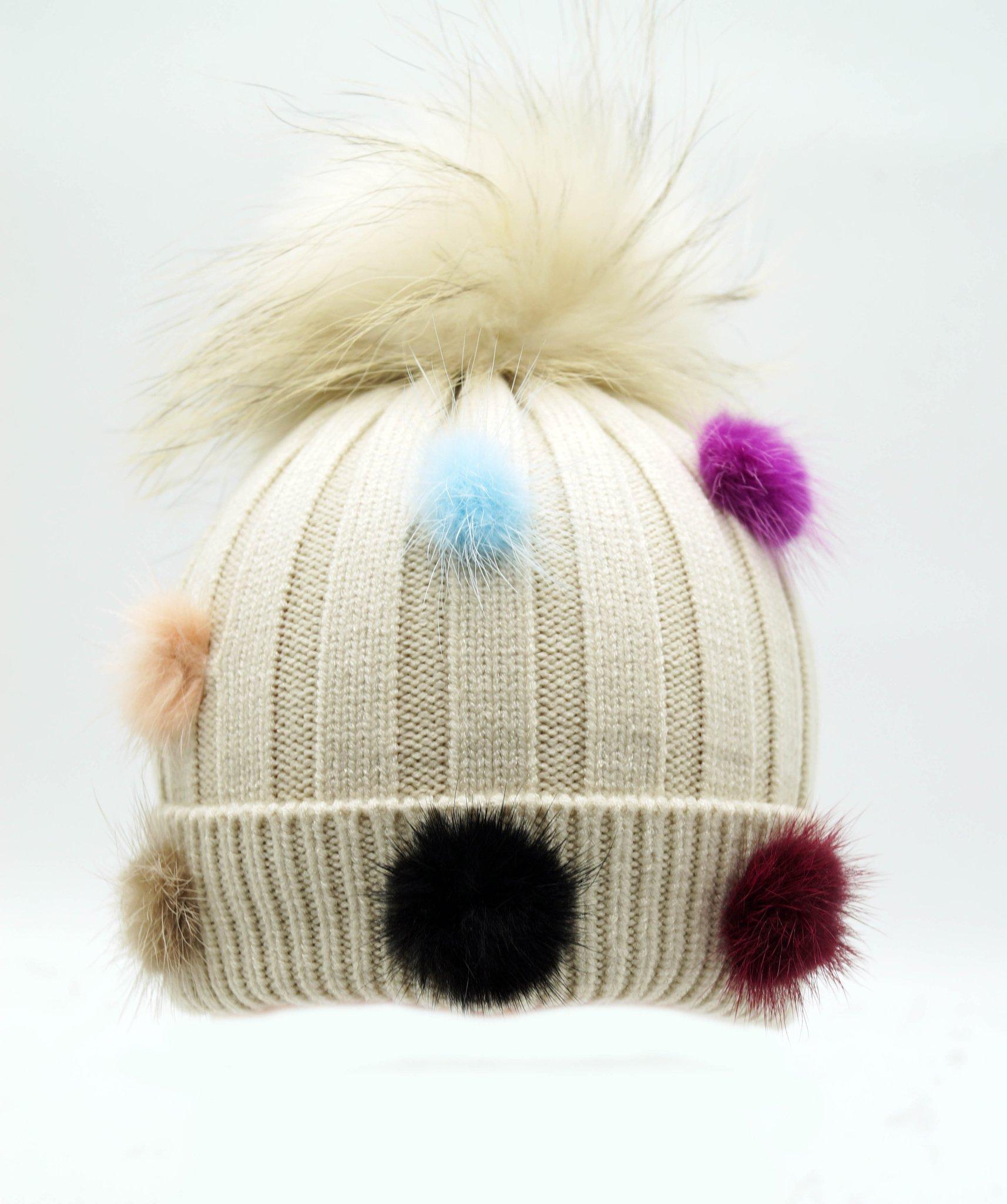 ef0b5237c Kids Beige Coloured Winter Hat Pom Poms Bobbles Toddlers All Sizes ...