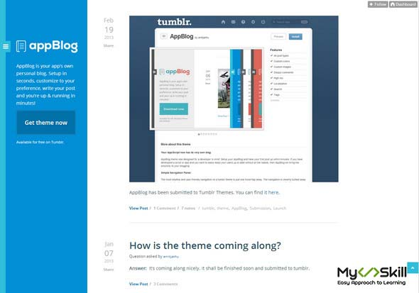 App Blog Free Tumblr Theme