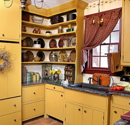 mustard colored kitchen for that warm glow effect