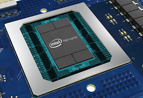 Intel's specialized AI accelerator, the Nervana coprocessor (shown),  plus on-chip FPGAs and its scalable system architecture, aims to boost performance where it counts - in analytics, AI, and deep learning. Source: Intel