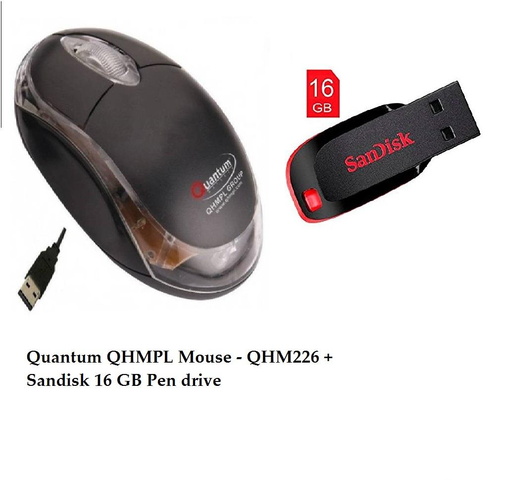 Sandisk 16 GB Pen drive + Quantum Mouse – QHM222
