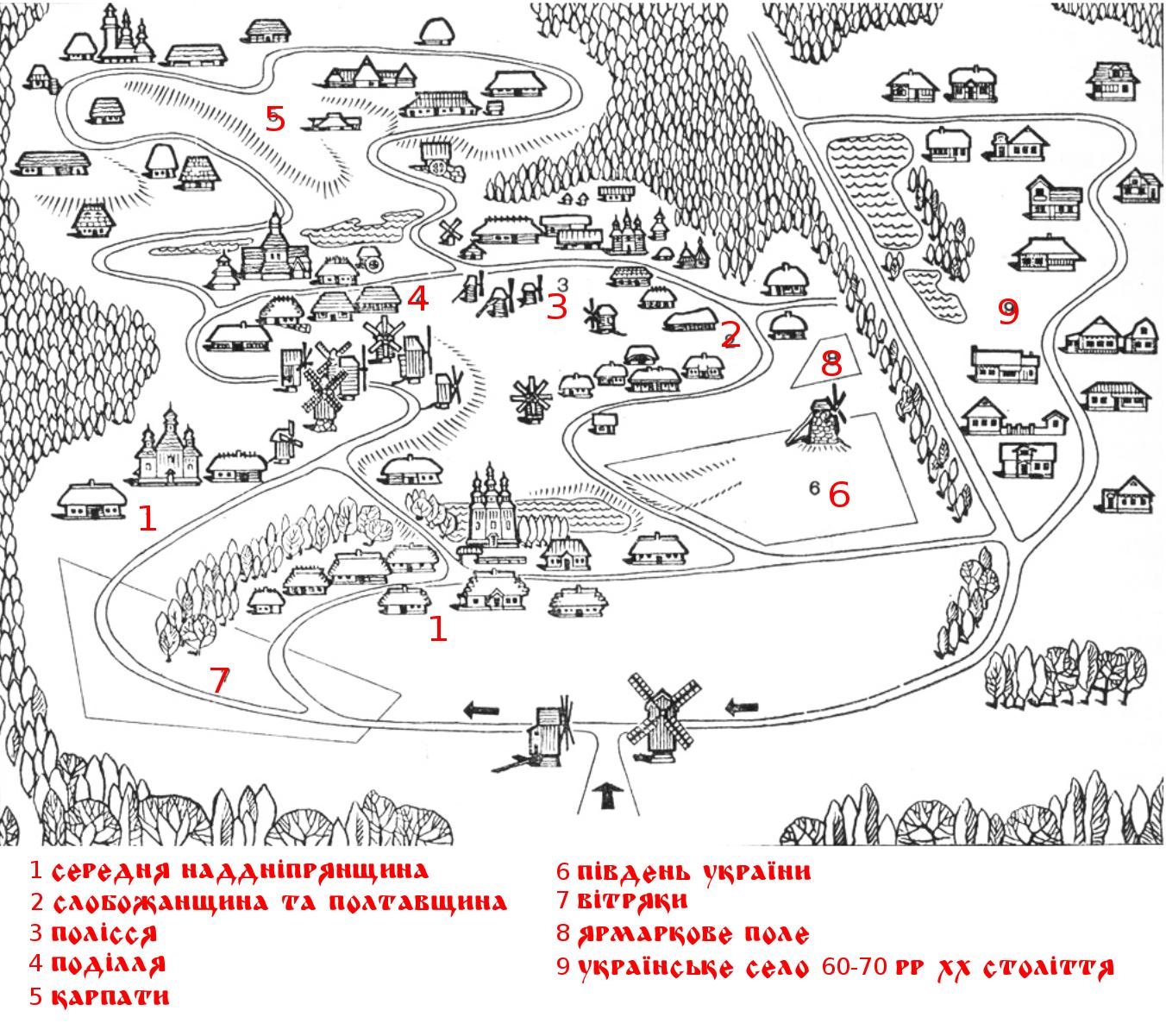 План музею національної архітектури та побуту Пирогово