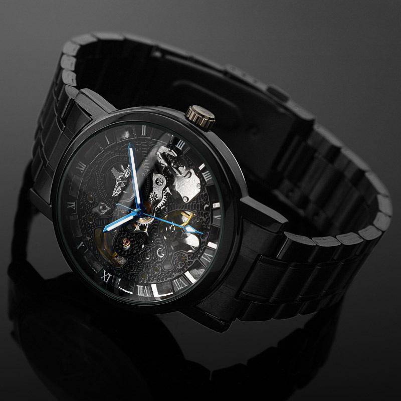 5ee072199 Skeleton Black Stainless Steel Automatic Mechanical Sport Wrist ...