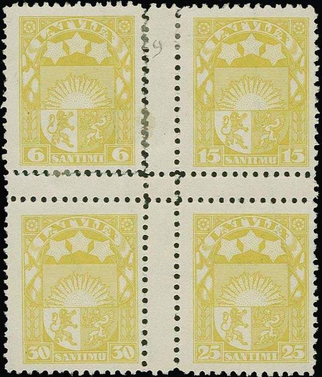 Izmēģinājuma iespiedums dzeltenā krāsā ar zobojumu. Uzskata, ka šajā krāsā eksistē tikai vienā eksemplārā. Pārdots izsolē par 1900 €.