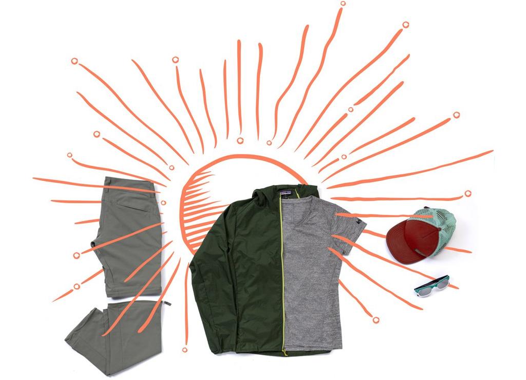 Polyester iç çamaşırı ve kısa kollu sentetik t-shirt; şort olabilen naylon yürüyüş pantolonu; hafif rüzgarlık.
