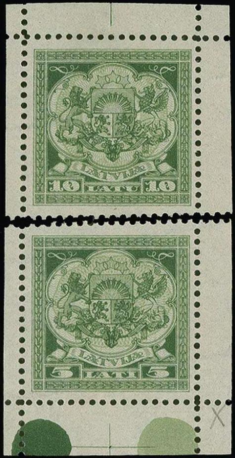 Izmēģinājuma iespiedums zaļā krāsā ar zobojumu uz ūdenszīmju papīra. Pārdots izsolē par 3000 €.