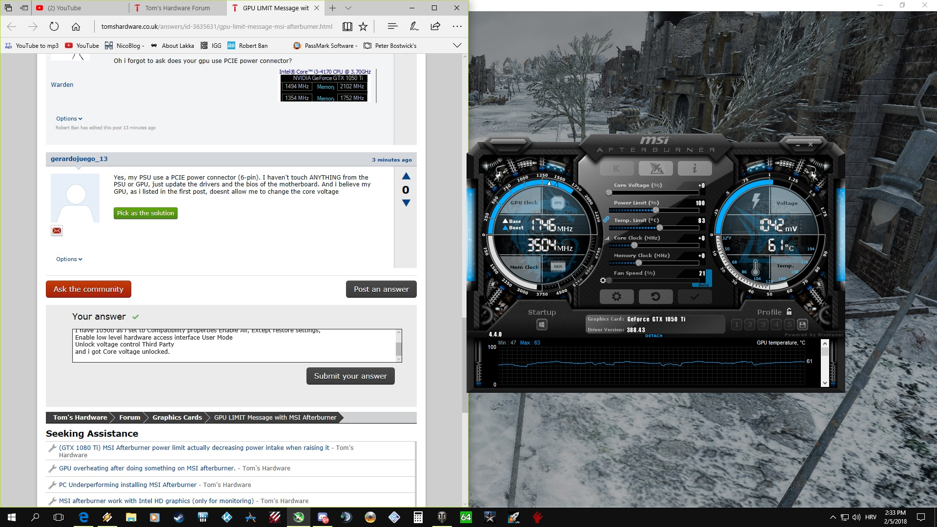 GPU LIMIT Message with MSI Afterburner | Tom's Hardware Forum