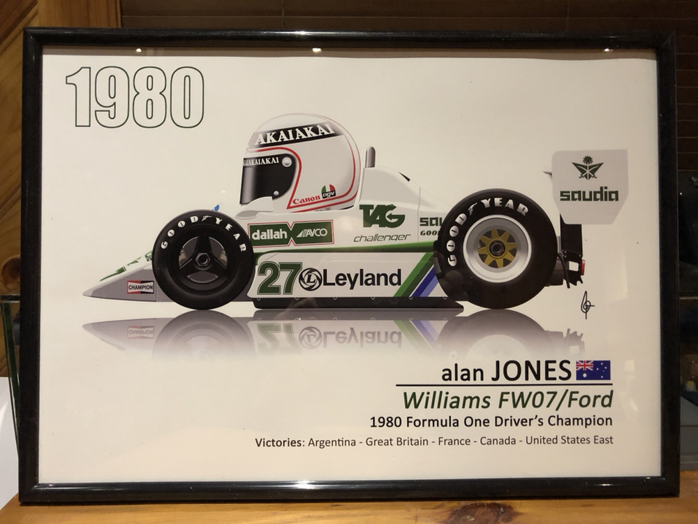 1980 alan jones f1 race poster williams ford